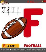 hoja de trabajo de la letra f con pelota de fútbol de dibujos animados vector