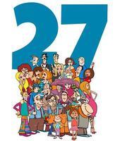 número veintisiete y grupo de personas de dibujos animados vector