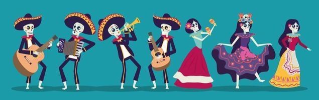 tarjeta dia de los muertos con mariachis y catrina skuls vector