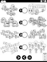 Tarea mayor, menor o igual con la página del libro de colores de vehículos vector