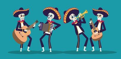 tarjeta dia de los muertos con calaveras mariachis tocando instrumentos vector