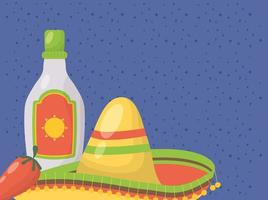 viva mexico celebration with tequila bottle and hat vector