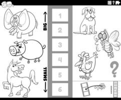 find biggest and smallest animal task coloring book page vector
