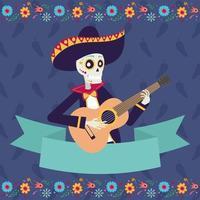tarjeta dia de los muertos con calavera mariachi vector
