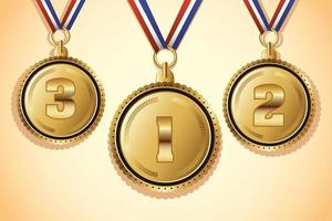golden medals with three places icons vector