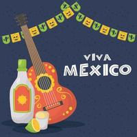 viva mexico celebration with guitar and tequila vector