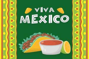 viva mexico celebration with taco and salsa vector