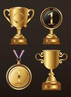 Gold trophy icon set vector