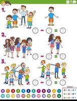 Tarea educativa de resta de matemáticas con niños cómicos