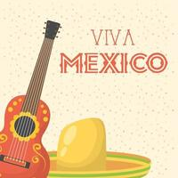 viva mexico celebration with guitar and hat