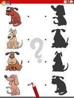 juego educativo de sombras con personajes de perros vector