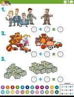 Tarea educativa de adición de matemáticas con objetos y personajes.