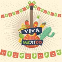 viva mexico celebration with guitar and icons
