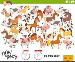how many cows and horses educational task for children vector