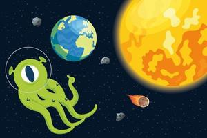 alien comic character with planets and sun vector