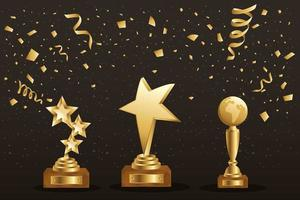 Banner with three gold trophies vector