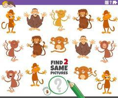 find two same monkeys educational game for children vector