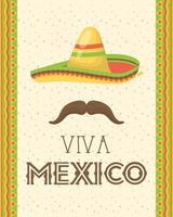 viva mexico celebration with hat and mustache vector