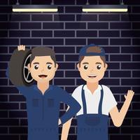 Mechanics workers characters vector