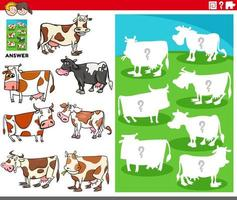 matching shapes game with cartoon cows characters vector