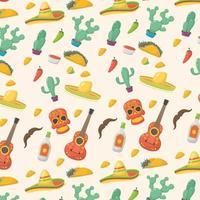 Viva Mexico celebration pattern background vector