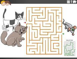 juego educativo de laberinto con gatos de dibujos animados vector