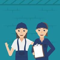 Female mechanics workers vector