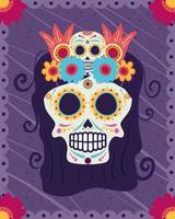 dia de los muertos card with catrina skull head vector