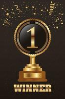 Gold winner celebration banner with trophy vector