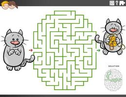 juego educativo laberinto con gato de dibujos animados e hilo vector