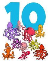 Número diez y grupo de animales de pulpo de dibujos animados. vector