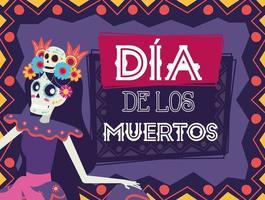 dia de los muertos card with catrina character vector
