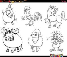 cartoon farm animal characters set coloring book page vector