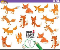 find two same foxes educational game for children vector