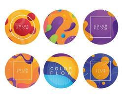 paquete de fondos de flujo de seis colores vector