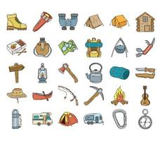 bundle of thirty camping line and fill icons vector