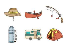 bundle of six camping line and fill icons vector