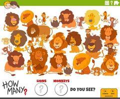 cuántos leones y monos tarea educativa para niños vector