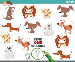one of a kind game for kids with dogs and puppies vector