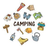 paquete de iconos de camping y letras vector