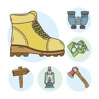 bundle of camping line and fill icons vector