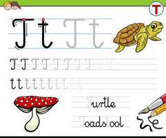 escribir la hoja de trabajo de la letra t para niños vector