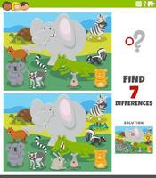 differences educational game with cartoon wild animals vector