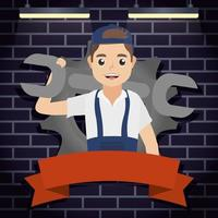 Mechanic man working with wrench vector