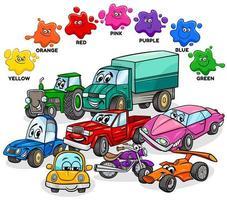 colores básicos con coches y grupo de personajes de transporte. vector