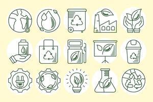 conjunto de iconos de línea ecológica y terrestre vector