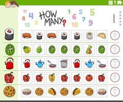 Tarea de contar para niños con objetos de comida. vector