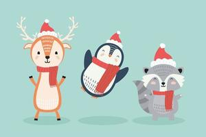 reindeer and penguin with raccoon wearing christmas clothes characters vector