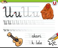 escribir la hoja de trabajo de la letra u para niños vector