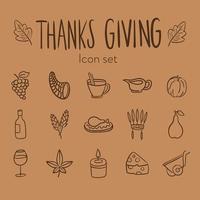paquete de quince iconos del día de acción de gracias vector